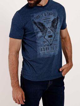 Camiseta-Manga-Curta-Gola-Careca-Masculina-Azul