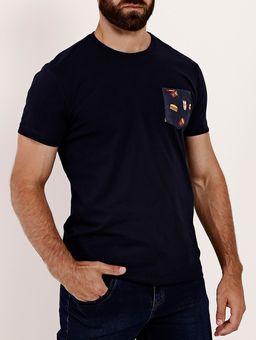 Camiseta-com-Bolso-Manga-Curta-Gangster-Masculina-Azul-Marinho-P