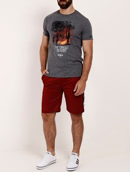 Camiseta-Manga-Curta-Estampa-Frontal-Masculina-Cinza