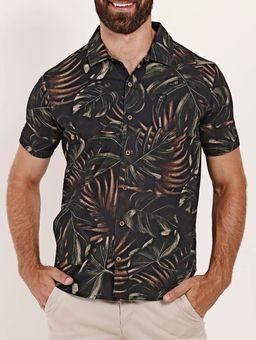 Camisa-Estampada-Manga-Curta-Masculina-Preto-P