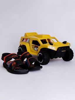 Sandalia-Hot-Wheels-Monster-Truck-Infantil-para-Menino---Preto-laranja-azul