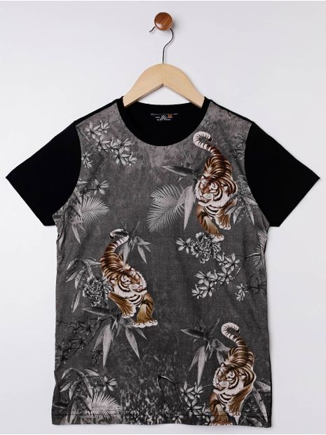 Camiseta-Manga-Curta-Juvenil-Para-Menino---Preto-cinza