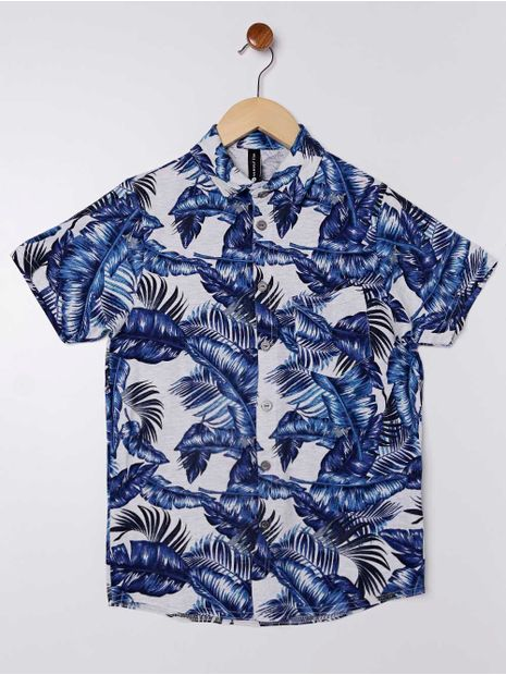Camisa-Manga-Curta-Folhas-Juvenil-para-Menino---Cinza-azul-