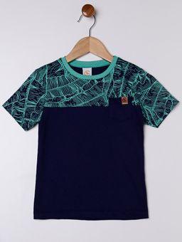Camiseta-Manga-Curta-Estampa-Folhas-Infantil-para-Menino---Verde-azul-Marinho
