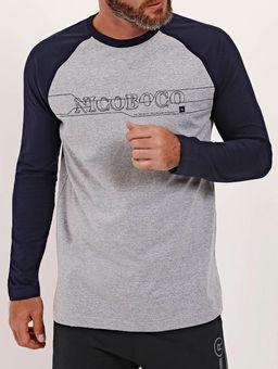 Camiseta-Manga-Longa-Nicoboco-Masculina-Cinza-azul-Marinho-P