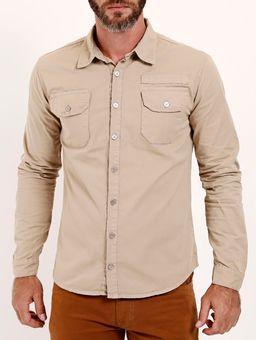 Camisa-Sarja-Manga-Longa-Masculina-Bege-P