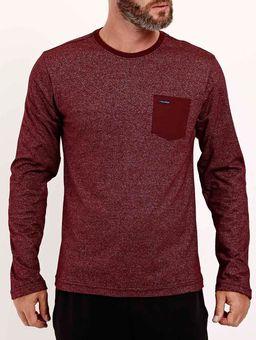 Camiseta-Manga-Longa-com-Bolso-Masculina-Bordo-P