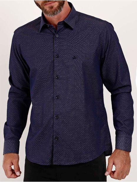 Camisa-Slim-Fit-Manga-Longa-Masculina-Azul-Marinho