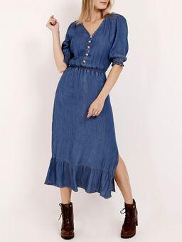 Vestido-Jeans-Longo-Manga-¾-Feminino-Azul