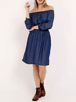 Vestido-Manga-¾-Feminino-Azul