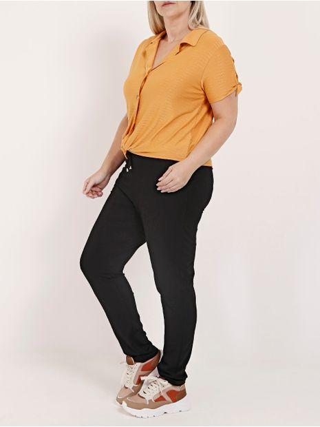 Camisa-com-No-Manga-Curta-Plus-Size-Autentique-Feminina-Amarelo