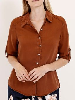 Camisa-Liocel-Manga-3-4-Feminina-Caramelo-P