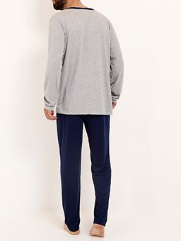 Pijama-Longo-Masculino-Cinza-azul-Marinho-P
