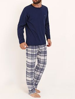 Pijama-Longo-Masculino-Azul-Marinho-branco-P