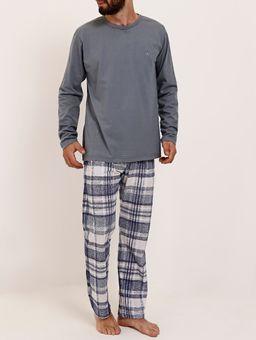 Pijama-Longo-Masculino-Cinza-branco-P