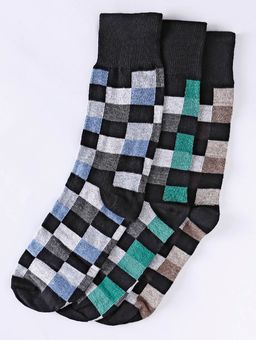 Kit-com-03-Meias-Xadrez-Eletron-Masculina-Verde-marrom-azul-