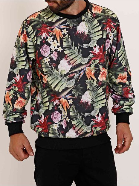 Moletom-Fechado-Floral-Full-Surf-Masculino-Preto-verde