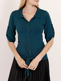 Camisa-com-No-Manga-¾-Feminina-Verde