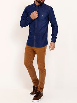 Camisa-Jeans-Slim-Manga-Longa-Masculina-Azul