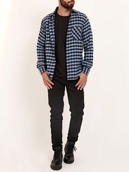 Camisa-Flanela-Xadrez-Manga-Longa-Amil-Masculina-Azul