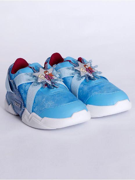 Tenis-Frozen-Mania-Infantil-para-Menina---Azul-branco