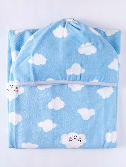 Toalha-com-Capuz-Infantil-Para-Bebe---Azul