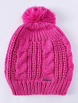 Gorro-Tricot-Pompom-Juvenil-para-Menina---Rosa-Pink