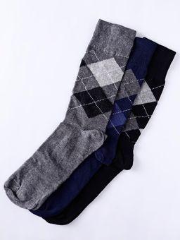 Kit-com-03-Meias-Xadrez-Eletron-Masculina-Cinza-preto-azul