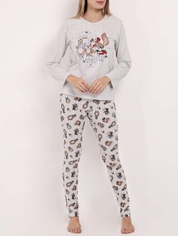 Pijama-Longo-Estampado-Feminino-Cinza