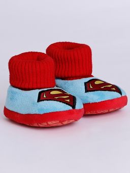 Pantufa-Liga-da-Justica-Infantil-para-Bebe---Vermelho-azul