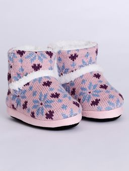 Pantufa-Botinha-Infantil-para-Menina---Rosa-estampado