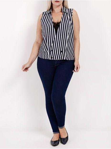Blusa-Regata-Plus-Size-Feminina-Azul-Marinho-branco-G2