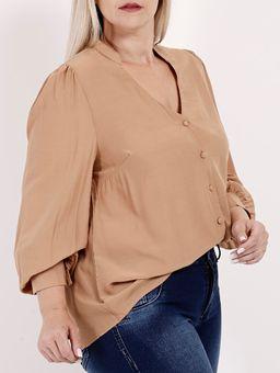 Camisa-Manga-Longa-Plus-Size-Feminina-Bege-G2