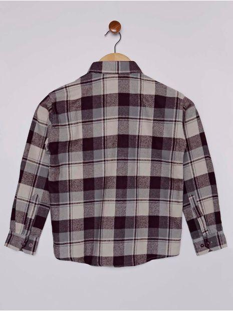 Camisa-Xadrez-Manga-Longa-Juvenil-Para-Menino---Bege-vinho-16
