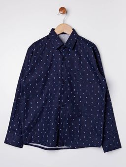 Camisa-Estampada-Manga-Longa-Juvenil-para-Menino---Azul