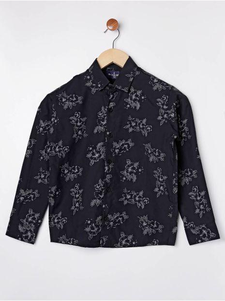 Camisa-Floral-Manga-Longa-Juvenil-para-Menino---Preto