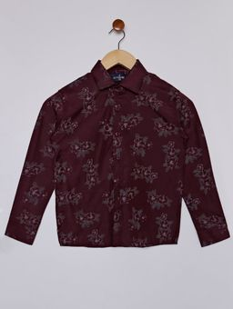 Camisa-Floral-Manga-Longa-Juvenil-para-Menino---Bordo