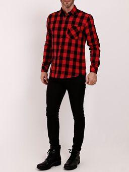 Camisa-Flanela-Manga-Longa-Masculina-Vermelho-P