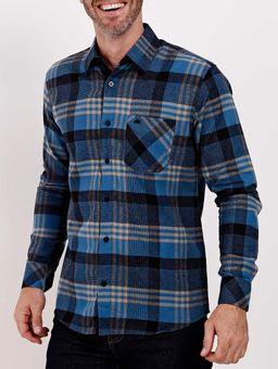 Camisa-Flanela-Manga-Longa-Masculina-Azul-Marinho-P
