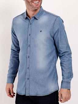 Camisa-Jeans-Slim-Fit-Manga-Longa-Masculina-Azul-Claro