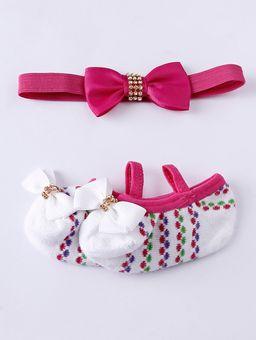 Kit-Meia-com-Faixa-Infantil-Para-Bebe-Menina---Branco-rosa-RN