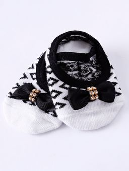 Kit-Meia-com-Faixa-Infantil-Para-Bebe-Menina---Branco-preto-RN