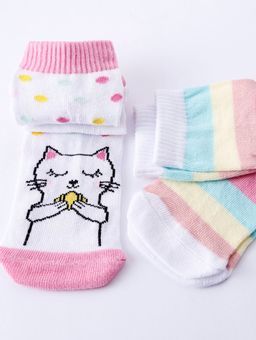 Kit-de-Meias-Kid---Juvenil-Para-Menina---Branco--Multicolorido-22-25