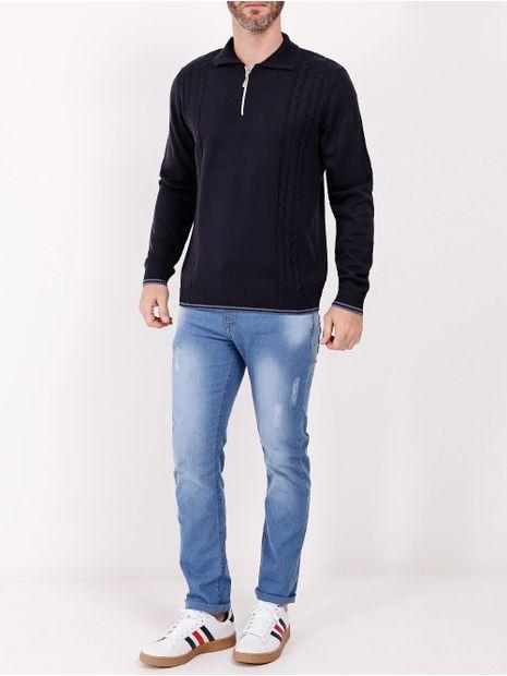 Blusao-Tricot-Gola-Ziper-Masculino-Azul-Marinho