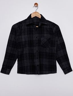 Camisa-Flanela-Xadrez-Juvenil-Para-Menino---Cinza-preto