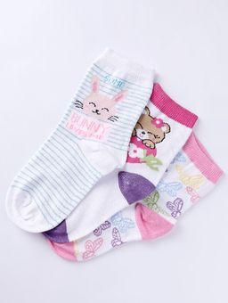 Kit-com-03-Meias-Selene-Juvenil-Para-Menina---Branco-rosa-lilas-25-28