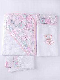 Jogo-de-Banho-com-Bordado-Infantil-Para-Bebe---Rosa-branco