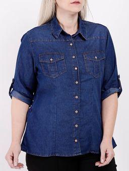 Camisa-Jeans-Manga-3-4-Plus-Size-Feminina-Azul