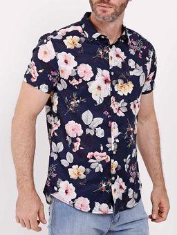 Camisa-Manga-Curta-Floral-Masculina-Azul-Marinho