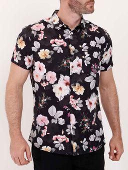 Camisa-Manga-Curta-Floral-Masculina-Preto
